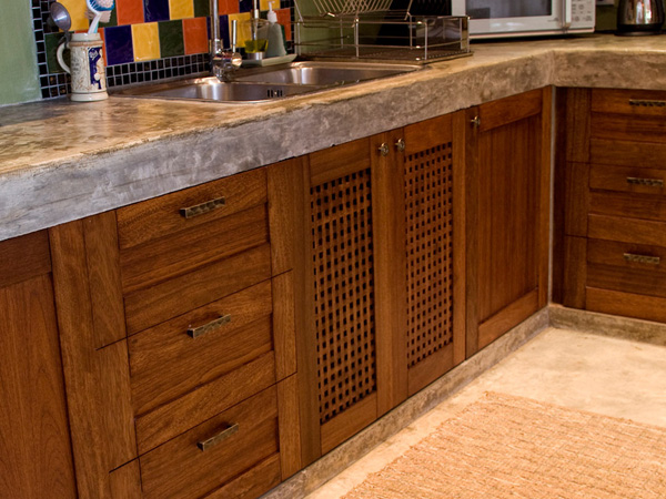 Cabinet Cupboard Custom Teak Kitchen - Casa Naranja | Wood Art Design