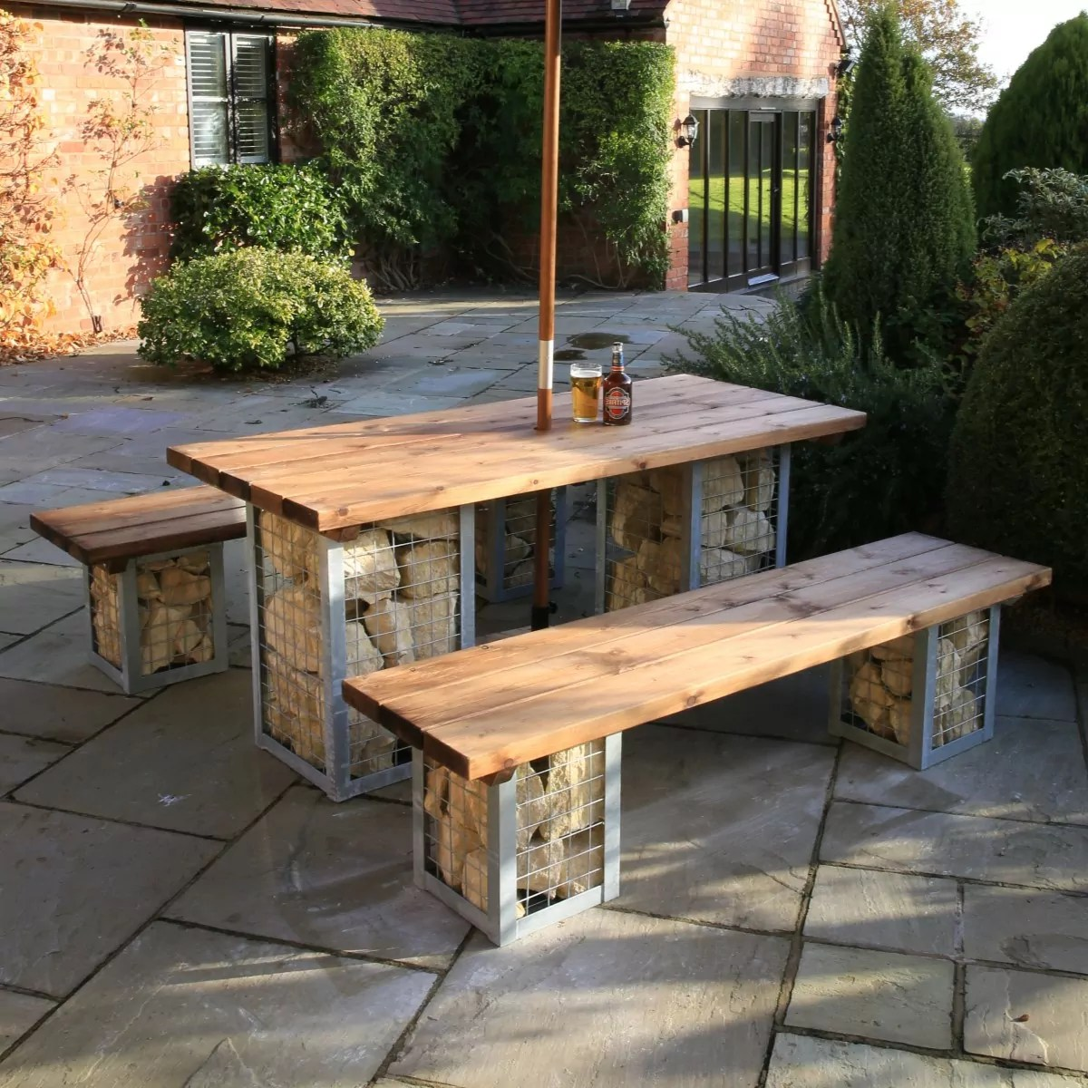 High Bench Table Gabion Table And Bench Set Woodberry