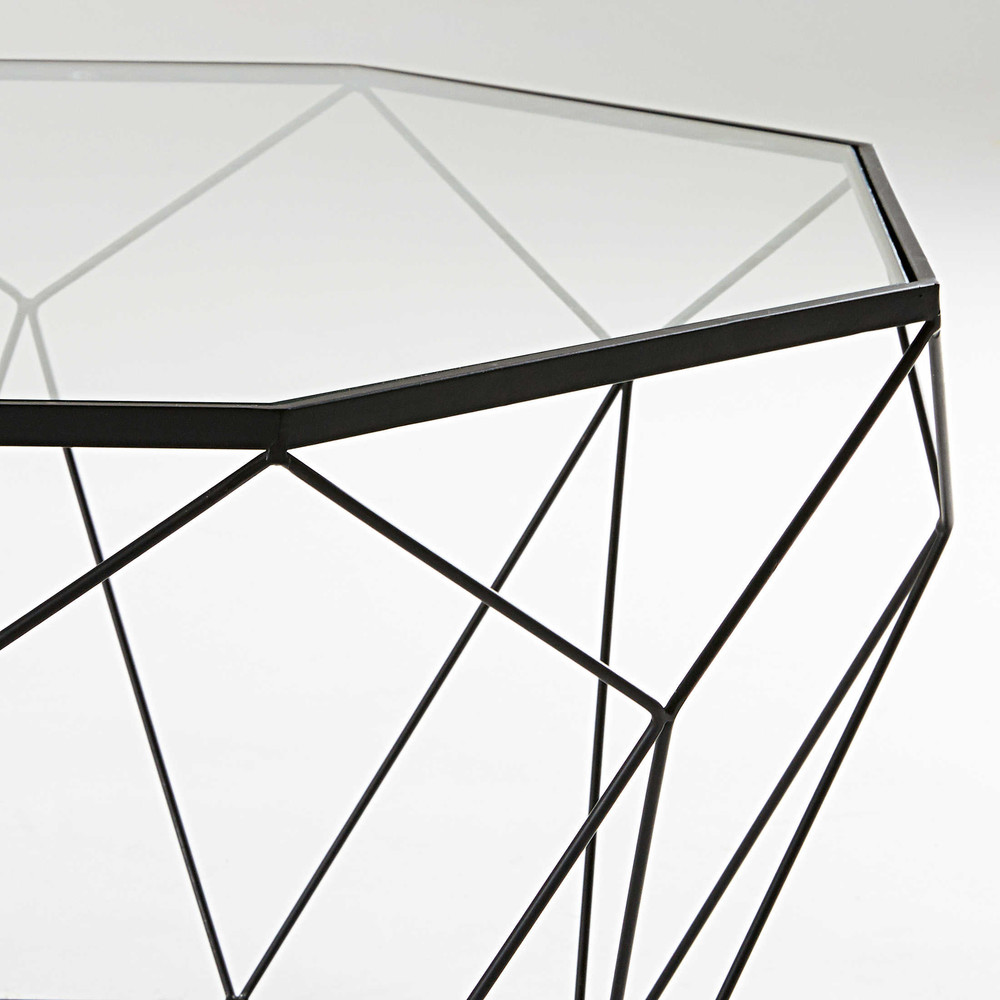 Table Metal Et Verre Sleek Coffee Table In Tempered Glass And Black Metal
