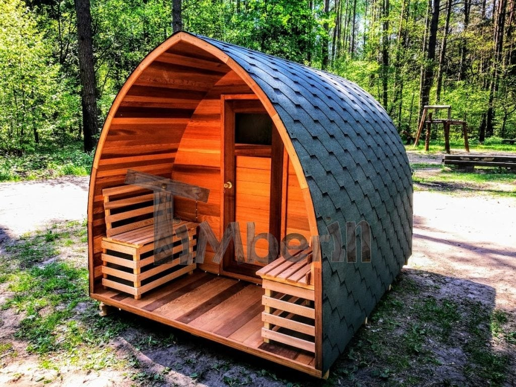 Badetonne Site Outdoor Garden Wooden Sauna Red Cedar With Electric Heater