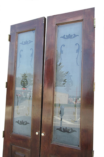 Beveled Mirror Panels Etched Glass Doors Wooden Nickel Antiques