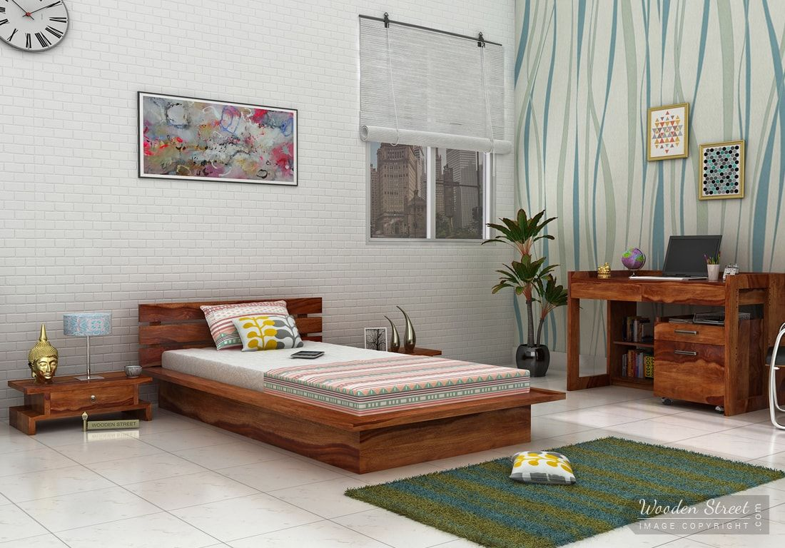 Low Floor Bed Buy Dwayne Single Bed Teak Finish Online In India