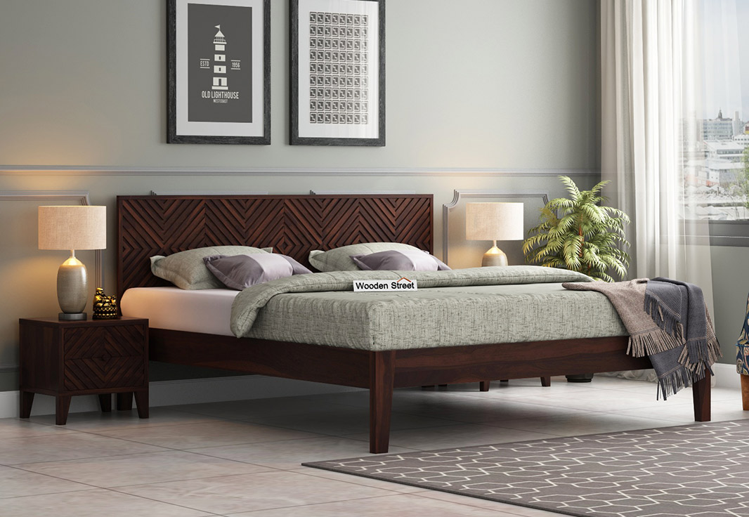 Chesterfield Sofa Online India Buy Horton Bed Without Storage (queen Size, Walnut Finish