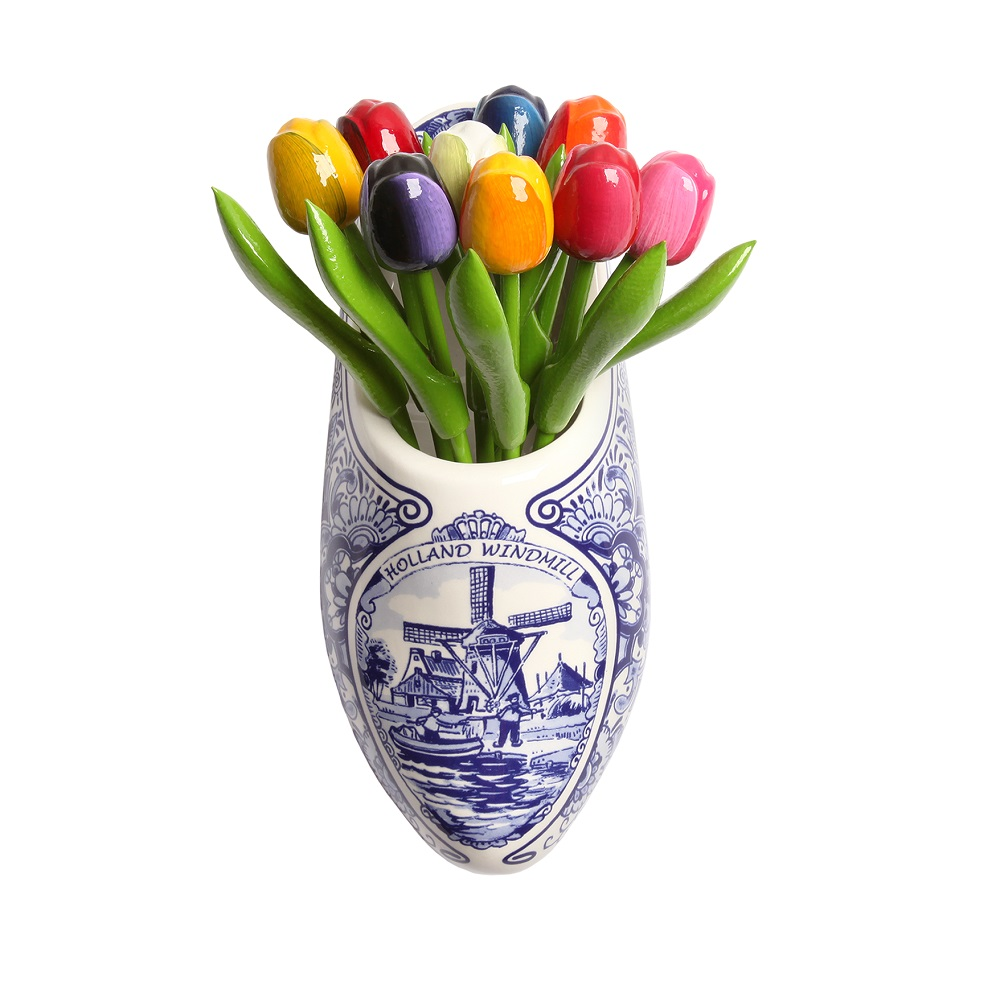 Houten Cilinder Wooden Tulips In Delft Blue Wooden Shoe