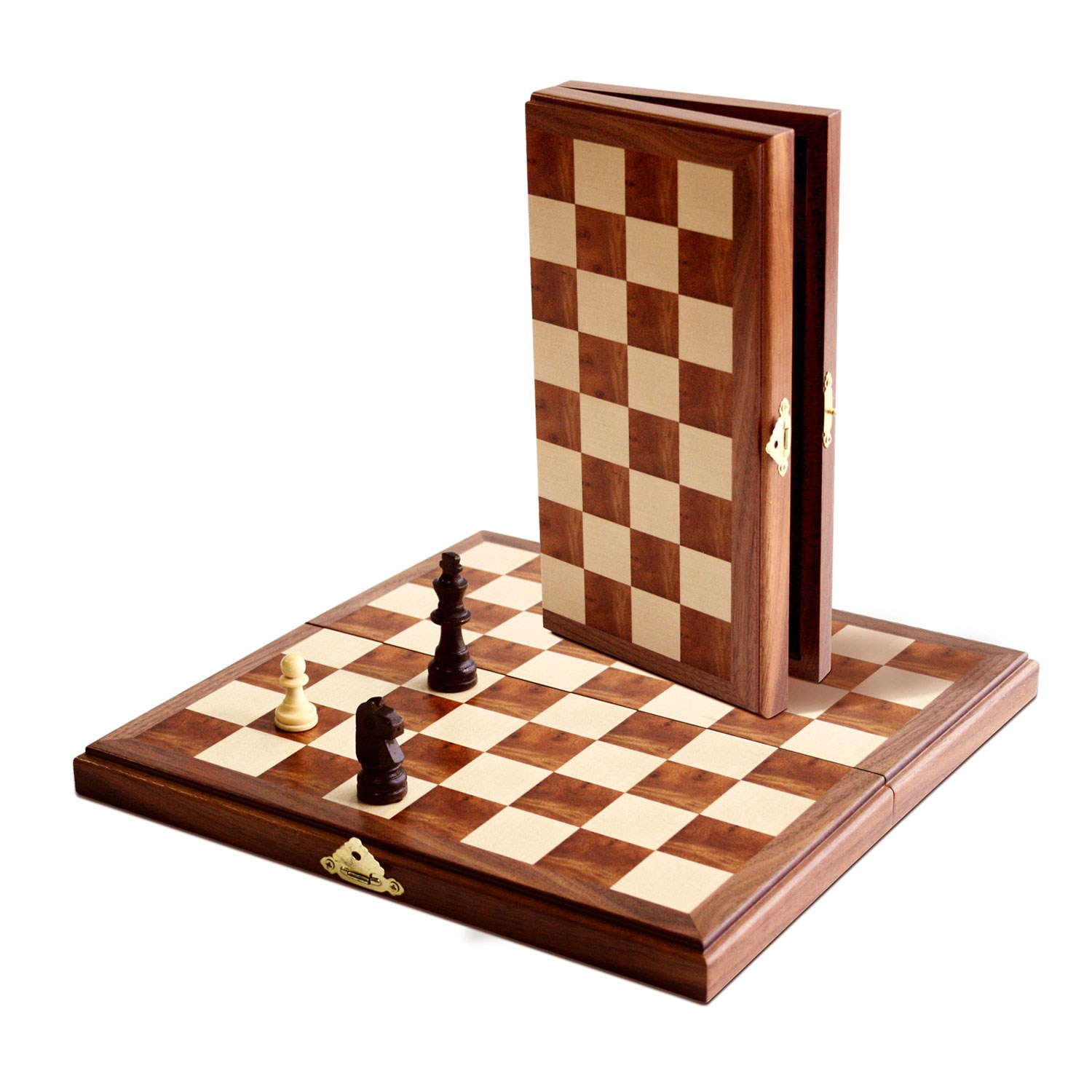 Personalized Chess Set Gift We Games Travel Magnetic Folding Walnut Wood Chess Set