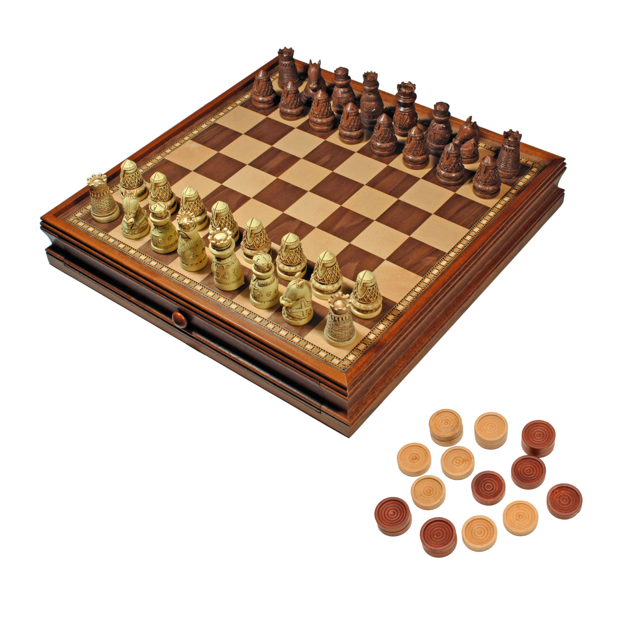 Chess Boards For Sale Amazon Medieval Chess And Checkers Game Set Brown And Ivory