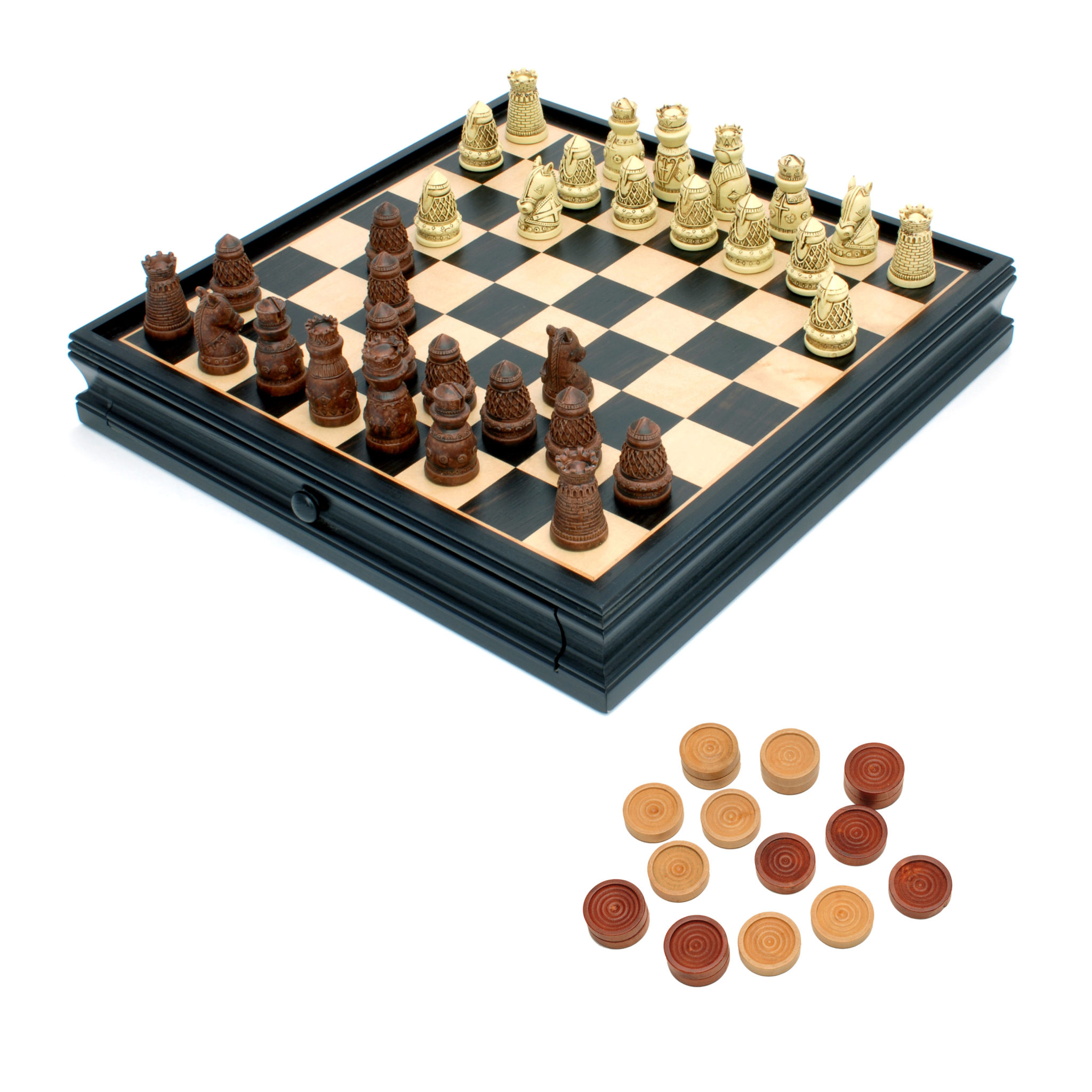 Chess Boards For Sale Amazon Medieval Chess And Checkers Set Polystone Pieces Black