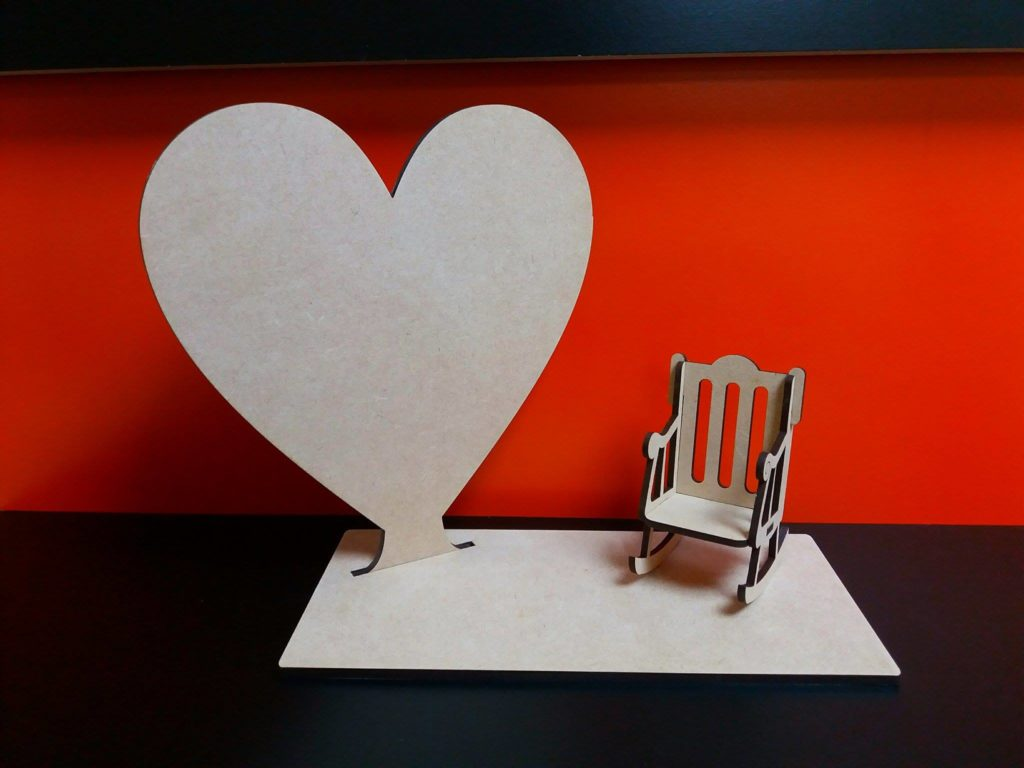 Rocking Chair Baby Bunting Heart With Stand And Rocking Chair 20cm X 18cm Woodform