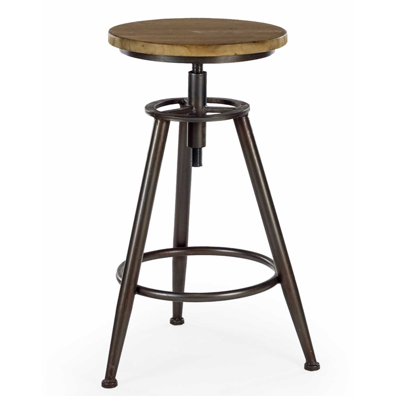 Wood And Metal Bar Stools Pair Of Industrial Wood And Metal Height Adjustable