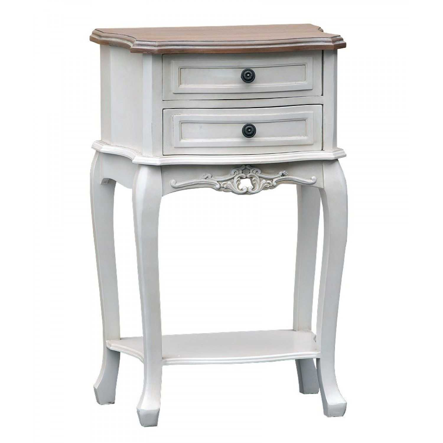 White Bedside Drawers Antique White Bedside Table With 2 Drawers Natural Wooden Top