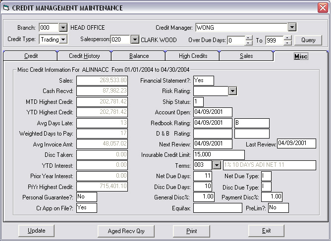 WoodPro 2000 - Financial Management - Features