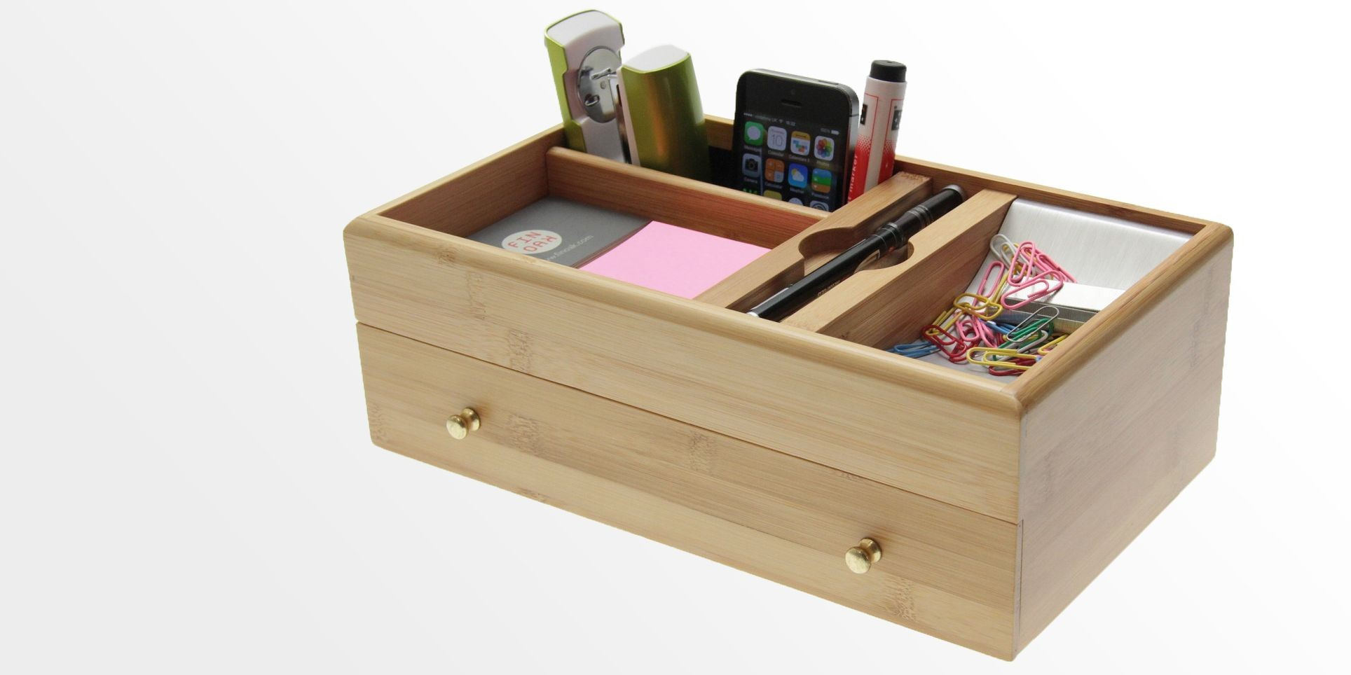 Desk Organiser Stationery Desk Stationery Box Bamboo Desk Tidy Office Supplies