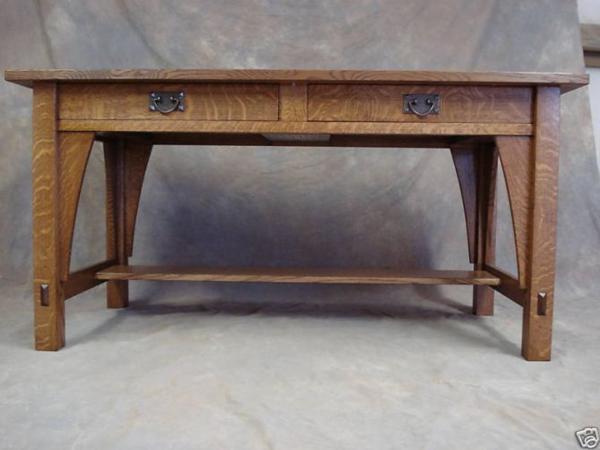 Library Table 615 Mission Oak Arts Crafts Desk Woodruff