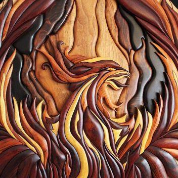 #phoenix #woodphoenix #cumberlandbc #woodvibetribe #woodvibes #intarsia #woodart #andywoodsmith #wood #woodmagic #woodwork #woodwizard #woodwizardry #firerooster
