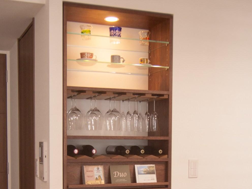 TANA飾り棚 カップ、グラス、ワインボトル、CD、オーディオ機器などを収納