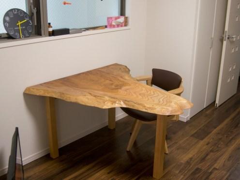 ケヤキ一枚板天板ダイニングテーブル