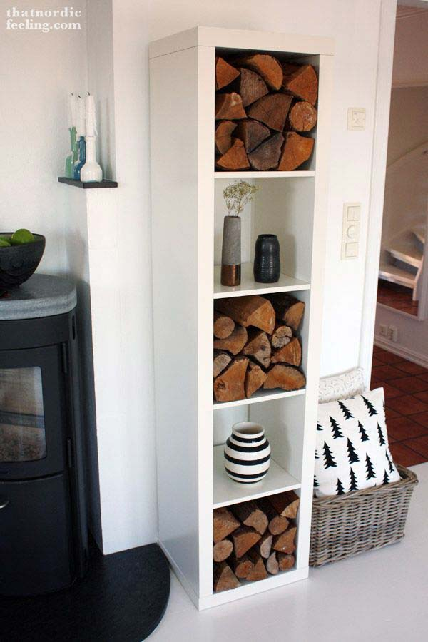 Ikea Lack Regal Creative Firewood Storage Can Become A Focal Point In Interior
