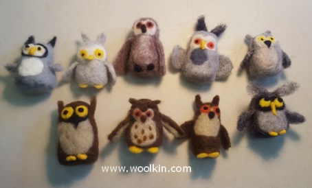 Here's all the needle felted owls made by my students!