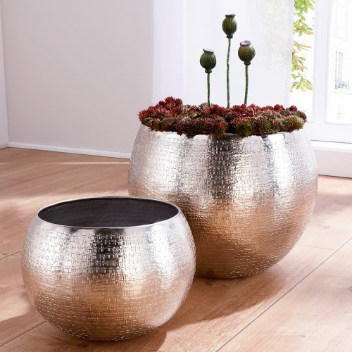 Amazon Bettwäsche Set Of 2 Indoor Plant Pots, Aluminium, Silver Online