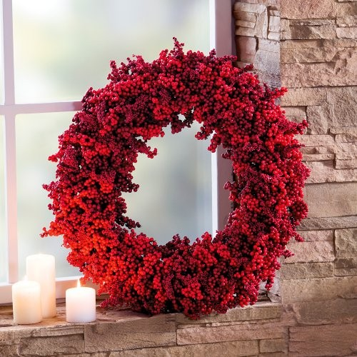 "Home 24 Betten Decorative Advent Wreath ""red Berries"", Approx. 52 Cm Ø"