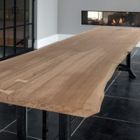 Solid oak tree trunk table - Woontheater