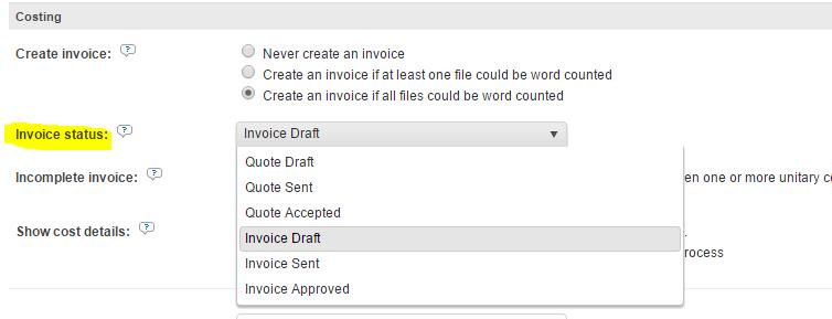 Default quote/invoice and reference material status in the new order