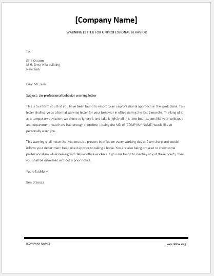 Writing Warning Letter For Employee Conduct Final Warning Letter - writing warning letter for employee conduct