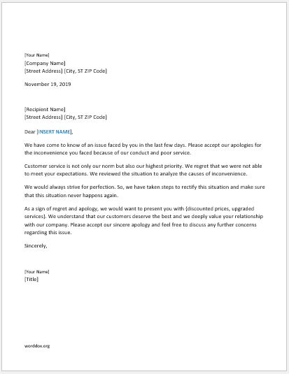 46 Apology Letter Templates for Everyone Word Document Templates