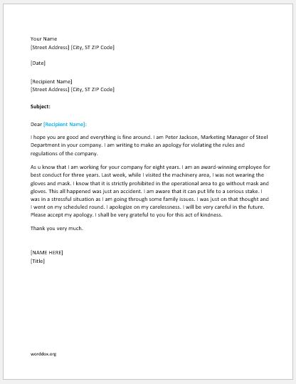 Apology Letter for Violating Company Rules  Regulations Word - letter apologies