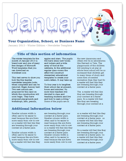 January Newsletter Template by WordDraw