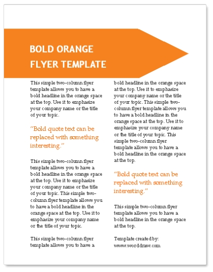 WordDraw - Orange Flyer Template for Microsoft Word
