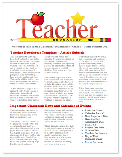 WordDraw - Free Teacher Newsletter Templates