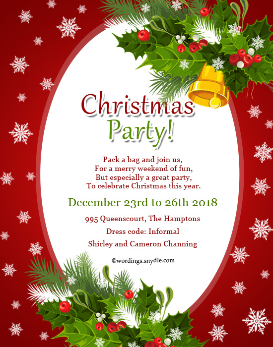 Christmas Party Invitation Wordings - Wordings and Messages