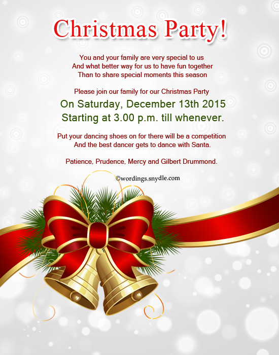 christmas party invitation wording samples - Leonescapers