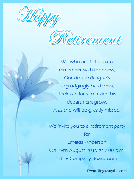 Retirement Party Invitation Wording Ideas and Samples - Wordings and