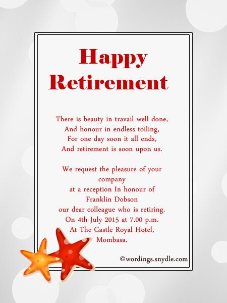 retirement invites wording