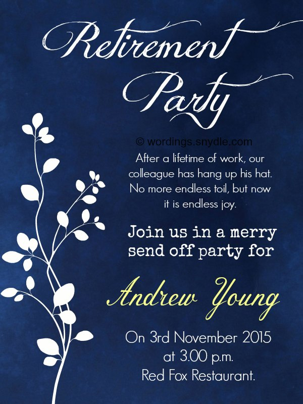 Retirement Party Invitation Wording Ideas and Samples - Wordings and - retirement party card