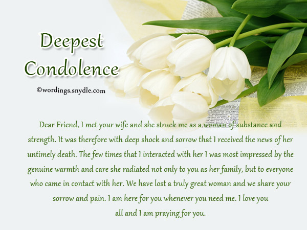 Sympathy Messages for Loss of a Wife - Wordings and Messages - condolence letter