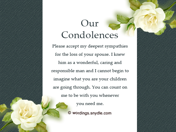 Sympathy Messages for Loss of Husband - Wordings and Messages - Condolence Messages
