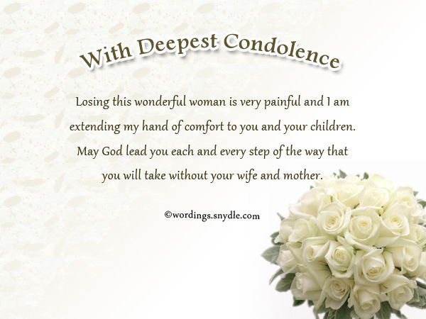 Sympathy Messages for Loss of a Wife - Wordings and Messages - sample condolence message
