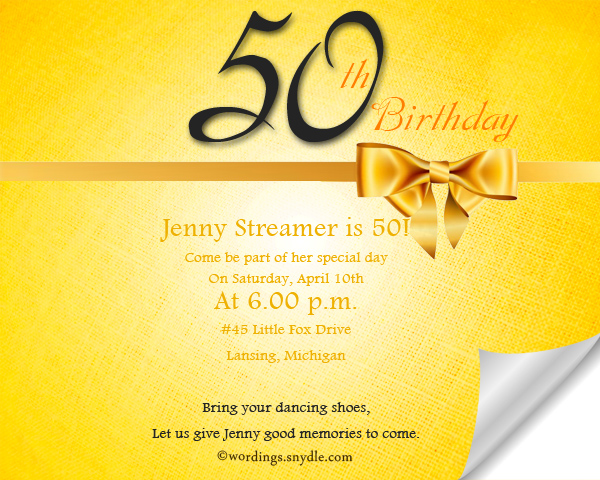 50th Birthday Invitation Wording Samples - Wordings and Messages - birthday invitation model