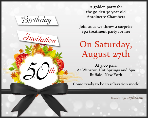 50th Birthday Invitation Wording Samples - Wordings and Messages - birthday invitations sample