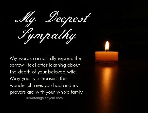Sympathy Messages for Loss of a Wife - Wordings and Messages - Condolence Messages