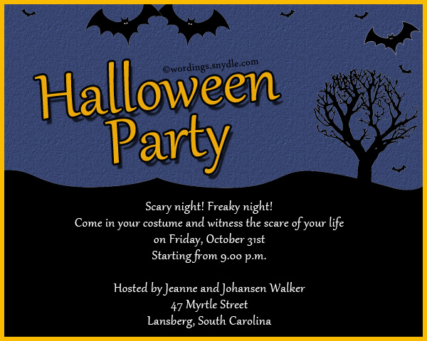 Halloween Party Invitation Wording - Wordings and Messages - halloween invitation