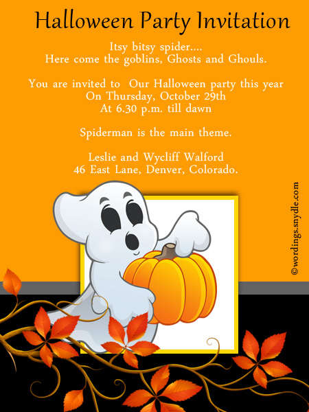 Halloween Party Invitation Wording - Wordings and Messages - invitation for halloween party