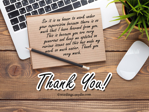 Thank You Notes for Boss - Wordings and Messages