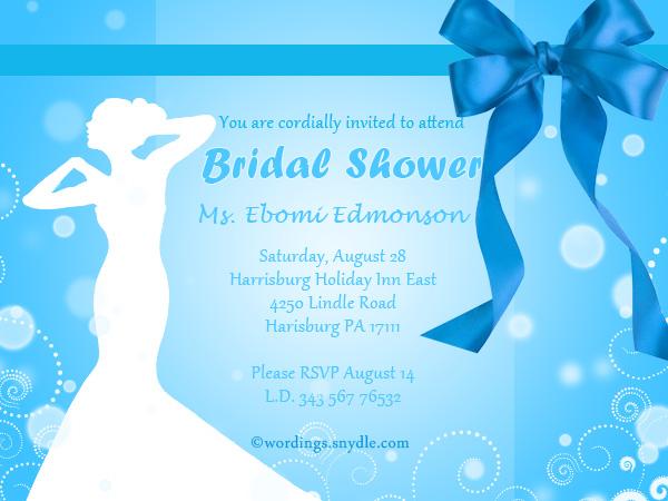 Wedding Shower Invitation Wording Samples - Wordings and Messages - bridal shower invitation samples