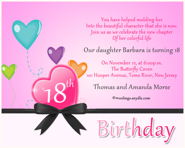 18th Birthday Party Invitation Wording - Wordings and Messages