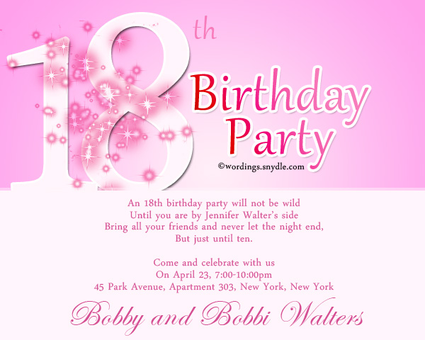 18th Birthday Party Invitation Wording - Wordings and Messages - format for birthday invitation