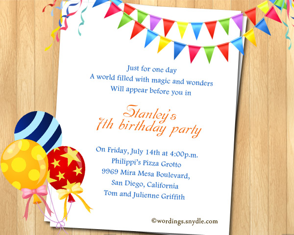 7th Birthday Party Invitation Wording - Wordings and Messages - invitations samples for birthday